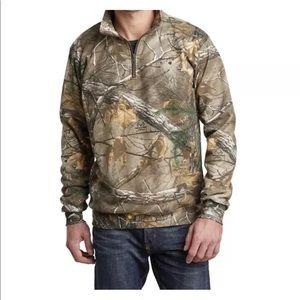 Real Tree Half Zip Knit Pullover Camo Mens Shirt